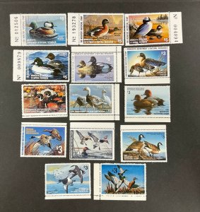 MINNESOTA STATE DUCK stamp group of 14. VF, Mint.