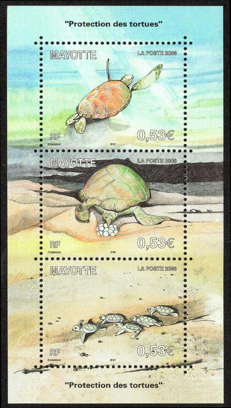 Mayotte 223, MNH. Turtle Protection.Turtle:Swimming,Laying eggs,Hatchlings, 2006
