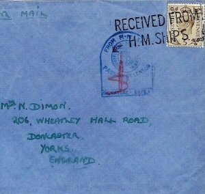 GB Cover Forces Air Mail NAVAL CENSOR WW2 Received from HM Ship CS356