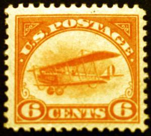 #C1 Air Post 6c Orange 1918 XF MLH