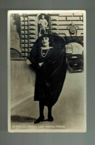 1935 Malta Real Picture Postcard cover tp Czechoslovakia Lady Wearing Faldetta