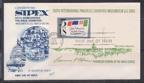 1311 SIPEX Souvenir Sheet Unaddressed Fleetwood FDC