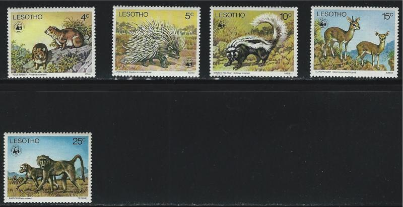 Lesotho SC228-232 WildAnimals:RockRabbits-Porcupine-Polecat-klipspringers MNH77