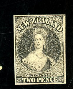 New Zealand 2 pence Black Cancel Proof on Card FVF