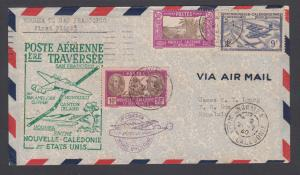 New Caledonia Sc 148/C4 on 1940 Pan-Am First Flight cover, Noumea-San Francisco