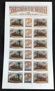 US #5378-5280 (5380a) Sheet of 18 (.55) Transcontinental Railroad SCV $20.00