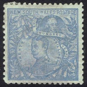 NEW SOUTH WALES 1890 CARRINGTON 20/- WMK 20/- NSW IN CIRCLE PERF 11