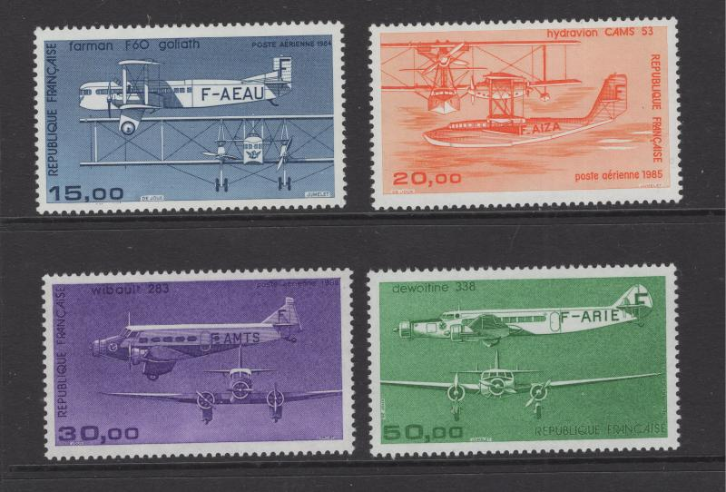 France 1984-7 Air Mail Planes Short Set 4 Stamps High Values Scott C56-9 MNH