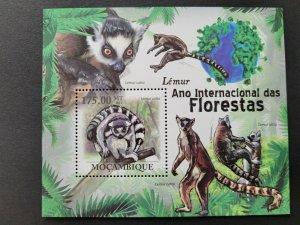Mozambique MNH S/S Lemur Animals 20121