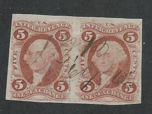 R27a Used, First Issue, 5c. Red, imperf Pair