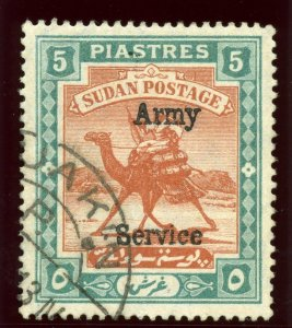 Sudan 1908 KEVII Army 5p brown & green very fine used. SG A12. Sc MO11.