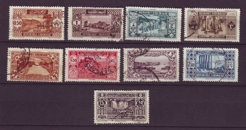 J23994 JLstamps parts of a set 1930-5 lebanon used #117-up 2 perfins #126,131