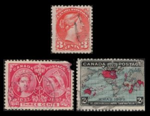 CANADA 1888 /1898 3 VINTAGE STAMPS #41 , #53 , #86, SEE SCAN FOR CONDITION