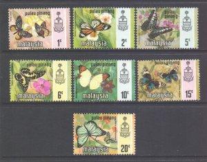 Malaya Penang Scott 74/80 - SG75/81, 1971 Butterflies Set MNH**