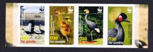 Gambia Birds WWF Black Crowned Crane Strip of 4v imperf SG#4920-4923