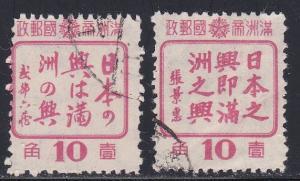 Manchukuo # 154-155, Used,