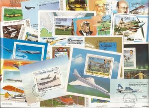Airplanes Stamp Collection - 25 Different Stamp Souvenir Sheets