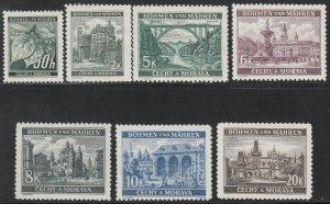 Stamp Germany Bohemia Czechoslovakia Mi 055-61 Sc 26,43-8 1940 WWII Fascist MNG