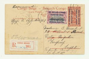 GERMAN EAST AFRICA BELGIAN OCCUPATION 1918 REGISTERED CARD KIGOMA-UK,40+10c RATE