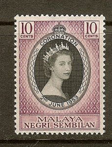 Malaya - Negri Sembilan, Scott #63, 10c Queen Elizabeth II Coronation, MNH
