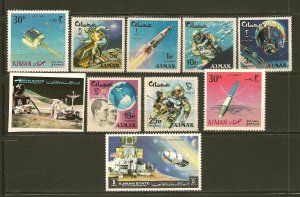 Ajman Lot of 10 Different Space 1970's Stamps MNH