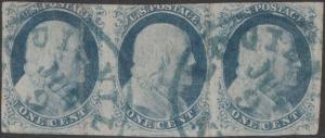 #9 STRIP OF 3 USED WITH BLUE CANCEL POS35-37R1L CV $415.00 BN8994