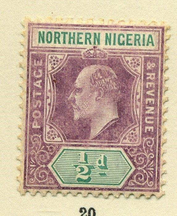 NORTHERN NIGERIA;  1905 early Ed VII issue Mint hinged 1/2d. value