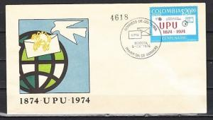 Colombia, Scott cat. C598. Centenary of U.P.U. issue on a First day Cover.