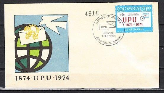 Colombia, Scott cat C598. Centenary of U.P.U. issue on a First day Cover.