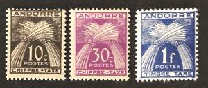 Andorra(FR) 1943-46 #J21,22,24, Unused/MH, CV $2.80