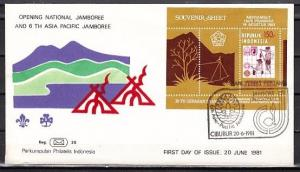 Indonesia, Scott cat. 1115. Asia-Pacific Scout Jamboree s/sht. First day cover.
