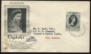 Gilbert & Ellice Islands QEII 1953 Coronation cacheted cover