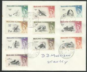 FALKLAND IS 1968 cover Birds to 1/-, FOX BAY cds...........................61440