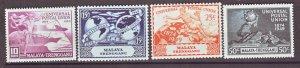 J22363 Jlstamps 1949 malaya-trengganu set mh #49-52 upu