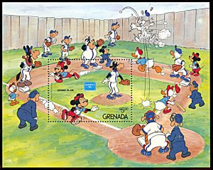 Grenada 1384, MNH, Disney Ameripex '86 and Baseball souvenir sheet