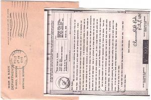 United States Fleet Post Office War & Navy Departments V-Mail Service Penalty...