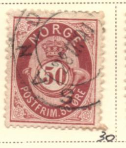 Norway Sc 30 1877 50 ore maroon Post Horn stamp used