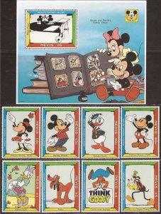 Nevis - 1992 Disney Mickey Portrait Gallery - 8 Stamp Set + 2 S/S - Scott #740-9