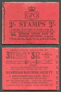 M14g Sept 1959 3/- Graphite Booklet 1 1/2d INVERTED Good perfs