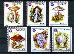 Paraguay 1986 MUSHROOMS SCOUTS set (6v) Perforated Mint (NH)