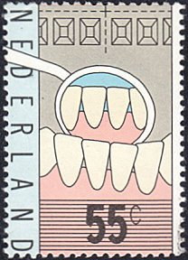 Netherlands # 573 used ~ 55¢ Teeth and Dentist's Mirror