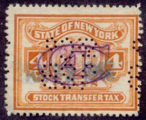 New York State Revenue Stamp 4c Stock Transfer Tax # ST128