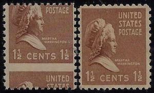 805 - 1 1/2c Huge Misperf Error / EFO Prexie / Presidential Series Mint NH