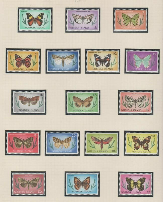 NORFOLK ISLAND  1976  BUTTERFLY - MOTH SET