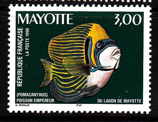 Mayotte MNH Scott #110 3fr Pomacanthus - Fish