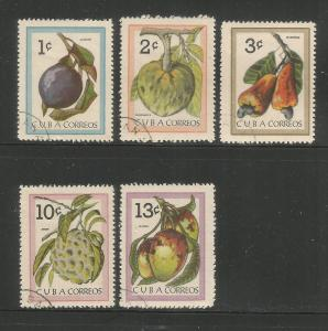 CUBA Sc# 801-805  INDIGENOUS FRUIT plants food CPL SET of 5  1963  used / cto