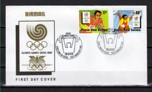 Papua New Guinea, Scott cat. 701-702. Seoul Olympics issue. First day cover. ^