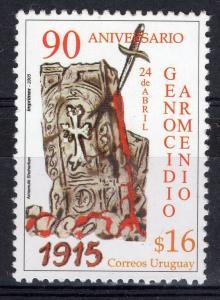 Armenia genocide 90 aniversary human rights blood URUGUAY Sc#2104 MNH STAMP
