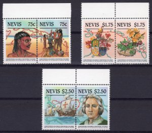 Nevis 1986 Sc#465ab/467ab COLUMBUS 500th.Anniversary of America Set (6) MNH