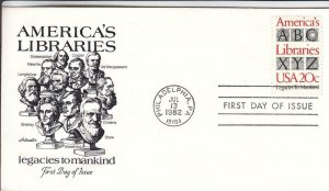 1982, America's Libraries, Artmaster, FDC (D13496)